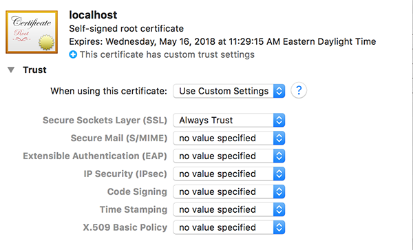 trusting the localhost certificate